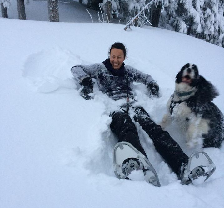 Dogs and humans all enjoy our winter snowshoe excursions!
